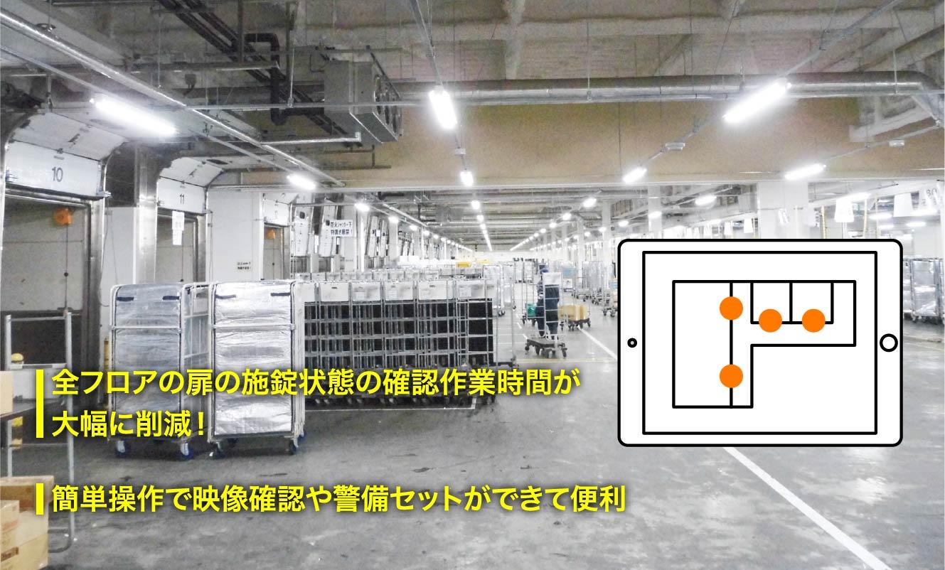 全フロアの扉の施錠状態の確認作業時間が大幅に削減!簡単操作で映像確認や警備セットができて便利